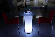 Waterproof led plastic 60 round glass top dining table