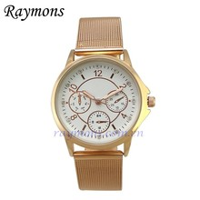 Eco-friendly thin gold silver rose gold zinc alloy mesh band watch
