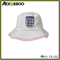 Cotton embroidered badge bucket hat with piping, promotion country flag sports hat