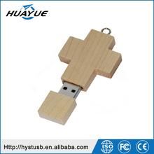 Christmas Gift 8GB 16GB Wooden Cross Shape USB Flash Disk for Christmas Day