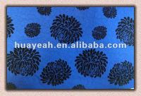 polyester flocking navy blue upholstery fabric