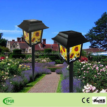 PVC Chinese palace lantern with sunflower plastic solar light for garden decoration