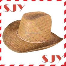 Cheap wholesale straw cap, raffia cowboy straw cap