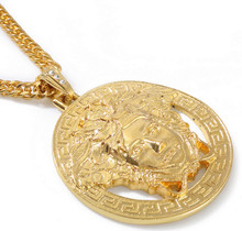 Men's Gold Hip Hop Medusa Pendant Necklace