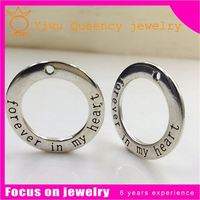B26 stainless steel engraved jewelry initial disc floating locket plates charms