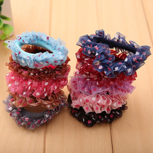 latest design korean lace hair band,lace hair accessory for women