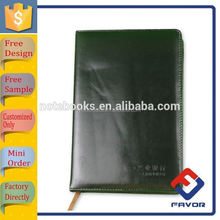 black pvc/genuine leather/pu leather pocket notebook with bookmark