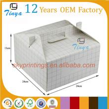 Customized a white cute paper cake box folding