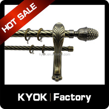KYOK Muslim style anti-brass curtain pole finial/end caps, double curtain twisted decorative pipe, hotel curtain rod wholesale