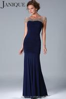 2015 Glamorous Short Sleeve Beading Mesh Scoop Ruching Bodice Cut Mermaid Navy Blue Mother Of The Bride Dress