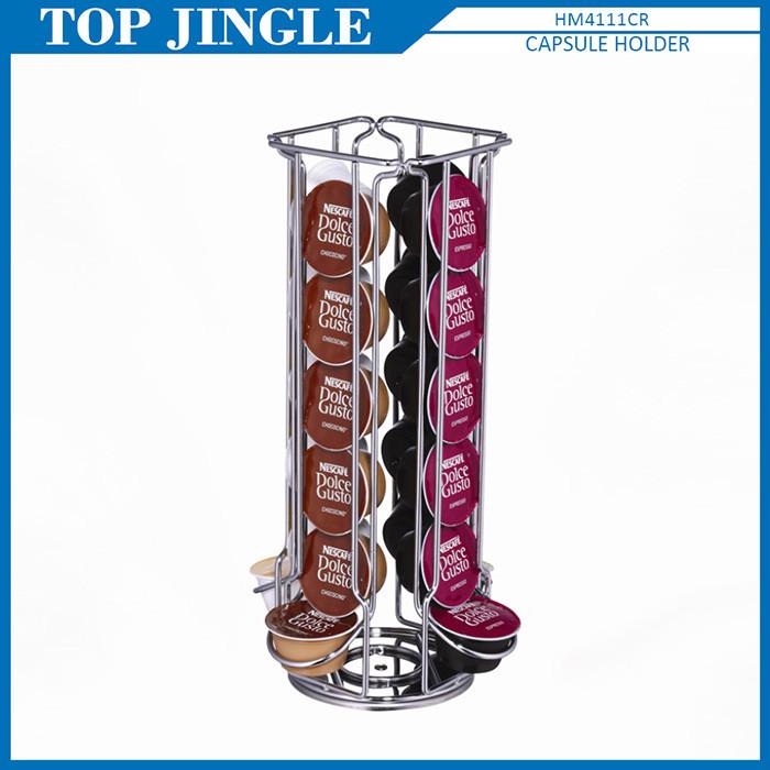 Design moderno a forma di J 4-way quadrato rotante caffè capsule holder