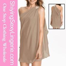 Cheap Fashion Khaki Asymmetric Drape One Shoulder Mini Dress