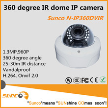 960P 360 degree IR dome fisheye IP security camera, Vandalproof, Onvif, H.264