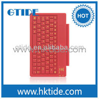 Gtide red leather case bluetooth keyboard for ipad 2 silicone keyboard film