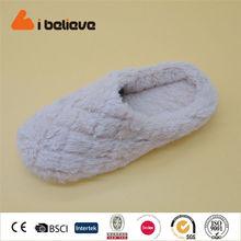 PV South Korean plush custom pattern embroidered Non-slip rubber sole lady slipper