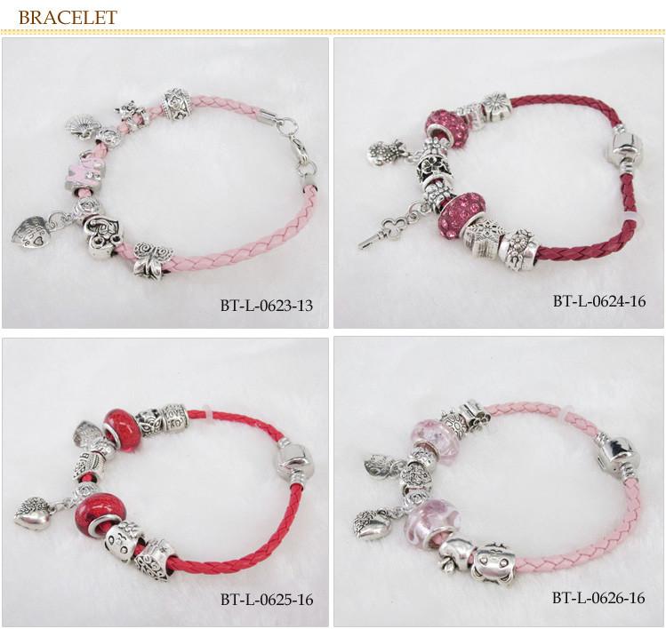 Hommes bracelet usine bracelet fit pandora nickel sans plomb bracelet manchette coeurs bracelet en cuir