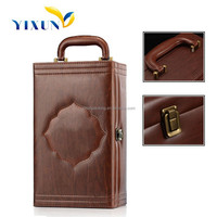 Accept custom order luxury pu leather material leather wine carrier