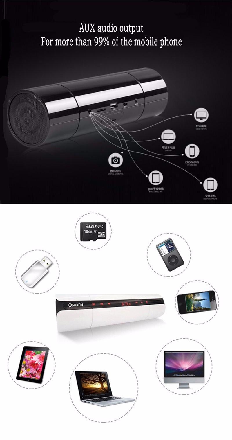 NFC Multifonctionnel Portable KR8800 Lisse Sans Fil Bluetooth 3D Haut-Parleur avec Écran LCD FM Radio