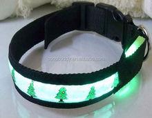 Cheap led flashing dog collar for christmas X-mas pet dog collar with leash