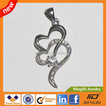 Exquisite Mixed Styles Double Hearts Silver Plated Brass Pendants & charms