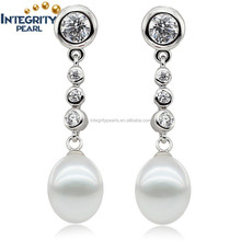 2015 New Arrival Drop freshwater natural cultured Pearl Earrings