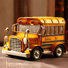 "Vintage Looking Antique 9"" Handcrafted vehicle Car Model school bus"