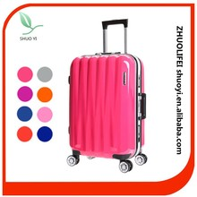 peach color telescopic handle girls rolling cute designer aluminum frame luggage