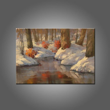 China Top Supplier Wholesale Winter Scenery Oil Painting On Canvas