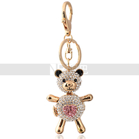 Wholesale Crystal Toy Bear Keychain Red Stone Heart Cute Bear Keychain for Girls