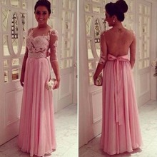 Ali-010 Hot Attractive Pink Lace Backless Evening Dress