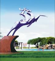 Modern Large Stainless steel Animal Arts Deer Sculpture for garden decoration