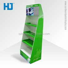 4 tier corrugated computer accessories advertising floor stand with counter box,pallet retail floor display stand