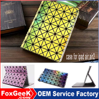 New Fashion laser grid color Pu Leather Stand Case For ipad air,air2 ,9 Inch Tablet Pc Flip Cover Case for apple ipad
