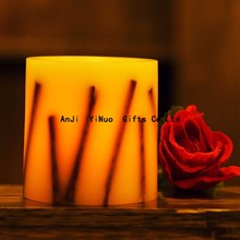 Hot sell high simulation electronic LED art candle with flameless dry flowers