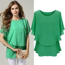 Latest Fashion Elegant Ladies Women Casual Short Sleeve O-Neck Elastic Waist Chiffon Blouse Tops SV018883