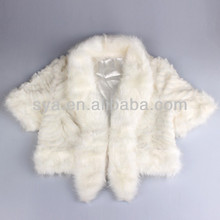 Sya hot sale new deisign fashion rabbit beige faux fur vest