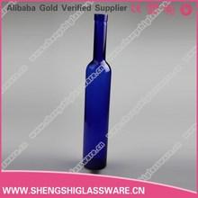 New design 500ml glass cobalt blue wine bottles water bottles