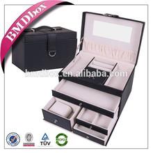La aduana hace espejo MDF cubierta negro cuero de la pu chino joyero caja con cerradura