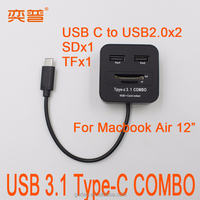 """USB 3.1 C Type combo driver to USB 2.0 HUB & SD & TF card reader for Apple Macbook Air 12"""""""