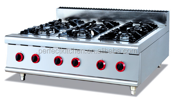 Stainless Steel Table Top Gas Ranges With 6 Burners ...