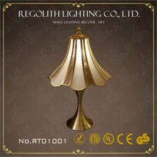China supplier glass table lamp/desk lamp with black silk lamp shade and metal base home decor UL CE RoHS