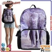 2015 export fashion school bags with elephant printed for teenagers elephant backpack Bistar GalaxyBBP107
