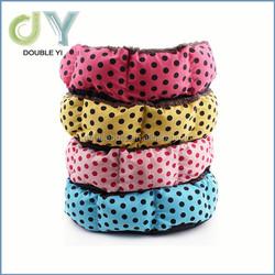 Custom Color dot Pet Dog / Cat Bed Cozy Fleece Soft Plush Cotton Padding Warm Kennel wholesale pet beds