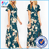 Yihao 2016 New Arrival Teal Wrap Front Floral Bloom Simple Long Maxi Dress wholesales dress high quality OEM clothing factory
