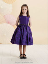 high quality knee length baby gown light purple flower girl dress