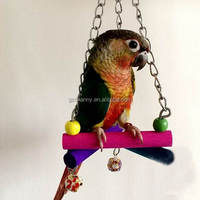 Colorful Wooden Hanging Swing Bird Parrot Toys Lovely Budgie Cockatoo Playing Triangle Standing Toys