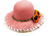custom fashion infant kids children lace joint summer beach sun flower straw hat with ribbon