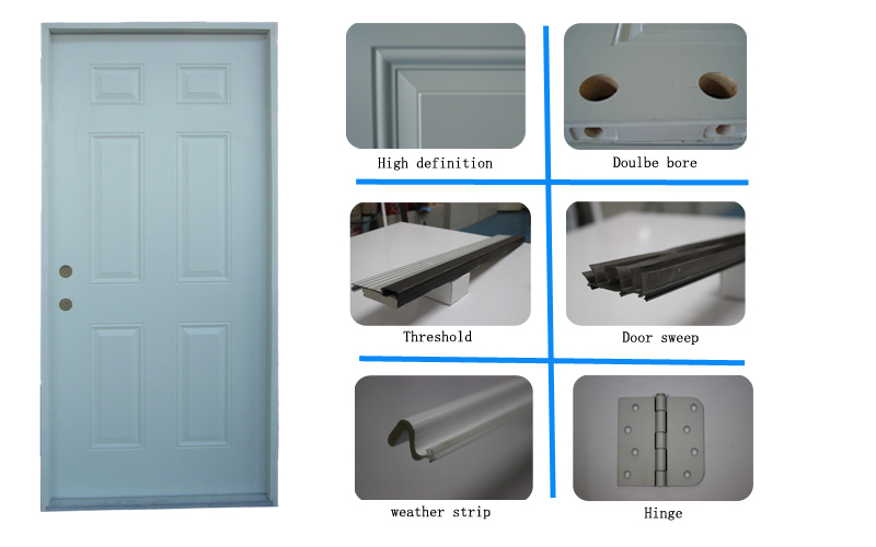 6-panel Prehung Inswing Steel Exterior Door