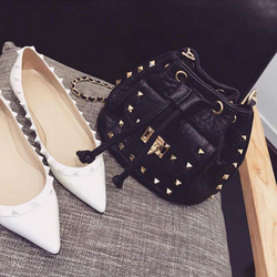 new wave female bag rivet bucket bag personalized leather women's Shoulder bag