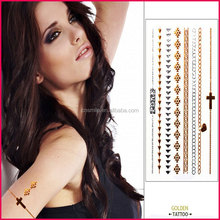 Fashion jewelry 2015 factory supply waterproof gold and silver temporary flash tattoo for women